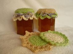 Set of 4 Crochet Jam Jar Covers/Coasters