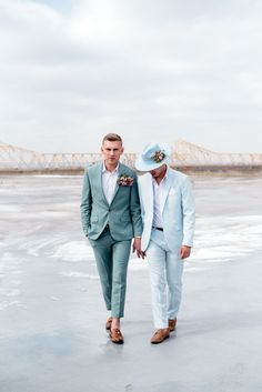 It's off to the races with this queer wedding with lovely spring colors and derby vibes! Pour the bourbon, and saddle up. Groom Wear, Groom Attire, Groom And Groomsmen, Wedding Groom, Wedding Men, Wedding Suits, Gents Wear, Modern Groom, Phuket Wedding