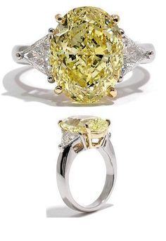 3 Carat Total Weight Oval Cut Natural Fancy Yellow Platinum Anniversary Ring