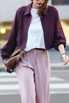 love the shades of purple in this Fall outfit