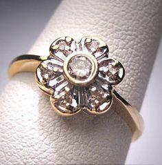 Antique Diamond Wedding Ring Retro Deco by AawsombleiJewelry