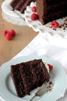 ambrosia: Dark Chocolate Raspberry Truffle Cake