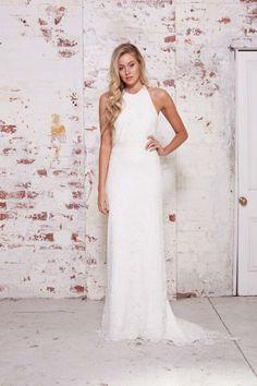 Glamorous lace halter dress from Karen Willis Holmes: http://www.stylemepretty.com/2015/02/02/karen-willis-holmes-wild-hearts-collection/