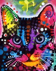 MAYA Pop Art CAT Original Mixed Media by deanrussoart on...