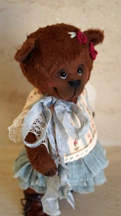 Teddy Bear style Artist viscose vintage OOAK  handmade collectible Bear toy by IntDolls on Etsy