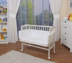 excelente WALDIN Cuna colecho para bebé, cuna para bebé, con protector y colchón, natural sin tratamientos o lacado en blanco,Lacado en blanco