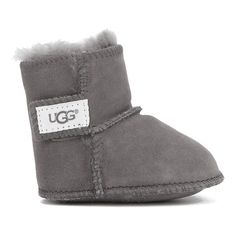 UGG Babies' Erin Suede Boots ($60) ❤ liked on Polyvore featuring shoes, boots, ankle booties, grey, short boots, grey boots, gray ankle boots, suede booties and suede boots