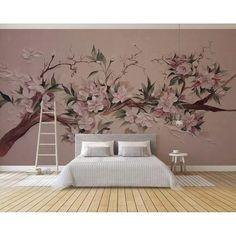 Cherry Blossom Wallpaper, Cherry Blossom Tree, Blossom Trees, Cherry Blossom Bedroom, Tree Branch Wallpaper, Wall Wallpaper, Painting Wallpaper, Retro Flowers, Vintage Flowers