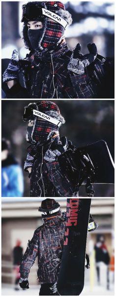kris ready to do some snowboarding, lookin' like a sexy ninja (─‿─) #exo