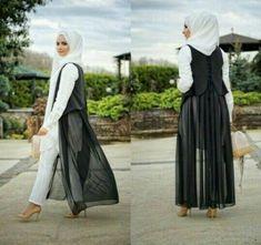 long black chiffon cardigan hijab chic- Colorful fashionable hijab outfits http://www.justtrendygirls.com/colorful-fashionable-hijab-outfits/