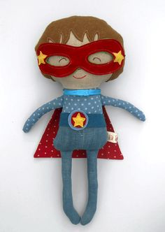 """Superhero, fabric doll for boys, dress up doll, 19""""/50cm, roll play toy, rag doll, by LaLobaStudio on Etsy https://www.etsy.com/listing/224632999/superhero-fabric-doll-for-boys-dress-up"""