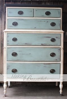 Old White body, Duck Egg drawers , with Graphite top