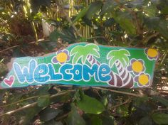 Hand painted driftwood welcome sign driftwood beach decor
