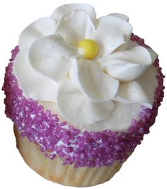 yellow cupcakes filled with strawberry filling, iced in vanilla buttercream, decorated with purple sugar crystals and buttercream flowers - cupcakes York PA