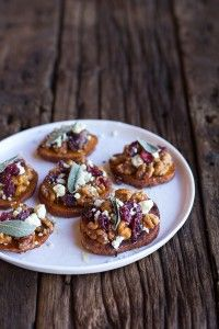 Curried Sweet Potato Rounds with Honeyed Walnuts, Cranberries and Blue Cheese-8