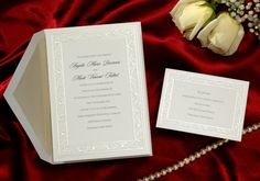 This classic soft white card bordered by pearl calla lilies compliments your invitation. T 192    price per 100: $135.22   Wedding Invitations by Wedding Invitations-WeddingBeDazzle