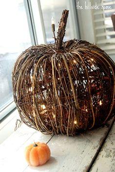 "A twig pumpkin? Wow, it has lights inside as well... what a sweet centerpiece idea from ""The Hillside Home"""