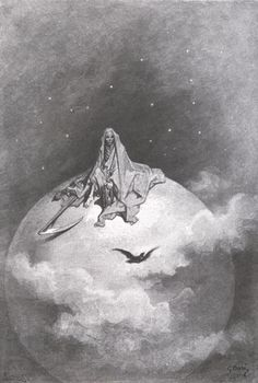 "Illustration: Death Depicted as the Grim Reaper on Top of the Moon from ""The Raven"", Gustave Doré."