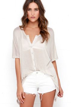 Dee Elle Just My Oversize Beige Button-Up Top at Lulus.com!