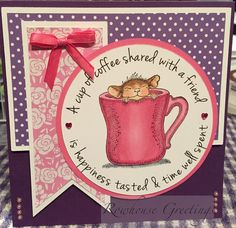 Rowhouse Greetings: Notecard using Stampendous House Mouse Design Rubber Stamp Warm Cup