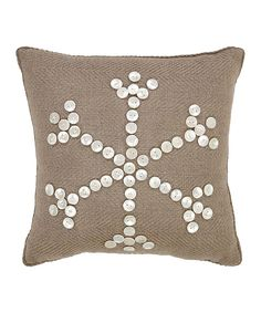 Take a look at this Beige Pearlescent Snowflake Throw Pillow today!