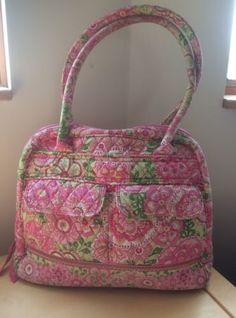 Vera Bradley Petal Pink Bowler Handbag Purse Shoulder Bag Zippered Floral  Green Purse Wallet 31d07e381fb71