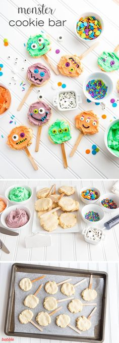 Throw a Monster Bash this Halloween with a fun Make-Your-Own Monster Cookie Bar. Such a unique dessert idea for a kids' Halloween party! Halloween Snacks, Dessert Halloween, Halloween Goodies, Halloween Birthday, Happy Halloween, Halloween Party Activities, Halloween Food For Kids To Make, Kids Halloween Party Treats, Halloween Crafts For Kids To Make