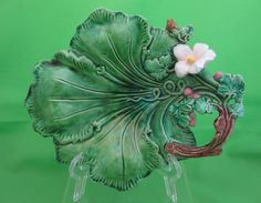 Antique Majolica Leaf and Blossom Server