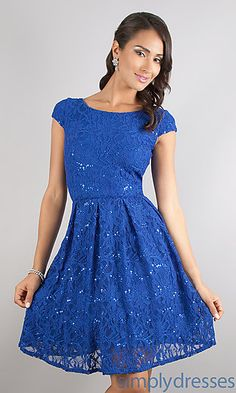 Short Lace Cap Sleeve Dress at SimplyDresses.com