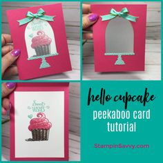 Hello Cupcake Peekaboo Card Tutorial - hello-cupcake-peekaboo-card-ideas-stampin-up-stampin-savvy-tammy-beard - Fun Fold Cards, Diy Cards, Birthday Diy, Birthday Cards, Birthday Recipes, Vintage Birthday, Birthday Images, Birthday Cupcakes, Birthday Quotes