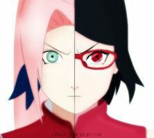 Their faces are damn near identical. The hair and eye color, of course, are Sasuke's, as are many of Sarada's facial expressions. The rest is all Sakura.