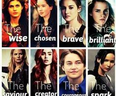 Percy Jackson, Susan Pevensie, Tris Prior, Hermione Granger, Emma Swan, Clary Fray/Fairchild, Hazel Grace Lancaster, Katniss Everdeen.