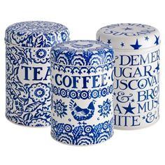 Emma Bridgewater Blue Hen Tea, Coffee and Sugar Caddies in food containers at Lakeland