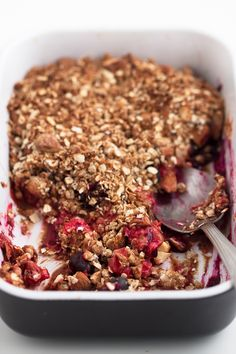 This vegan gluten-free berry crisp is a delicious and low-fat dessert or breakfast recipe. Feel free to use any fresh or frozen fruit you like.