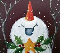 Snowman Paintings On Canvas - Bing Images. Maybe set this lower on the canvas with more black sky & the words Praise him or Praise the newborn king