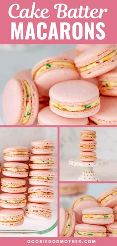 The best days for sprinkles, macarons, and celebrations end in -day. So today, let's all bake a party with these super cute cake batter macarons. Almond Recipes, Baking Recipes, Cookie Recipes, Dessert Recipes, Macaron Filling, Macaron Recipe, Macaron Cake, Just Desserts, Delicious Desserts