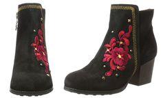 #Desigual Schuhe Chelsea - Modell Red Flower Country. Muster: floral, ethnisch, schwarz.