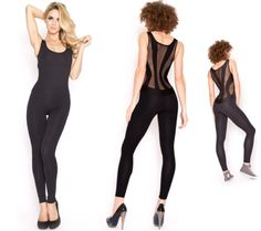 Mesh panelled unitard_black #unitard