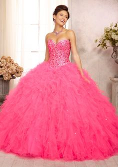 88087 Quinceanera Gowns 88087 Tonal Beaded Bodice on a Ruffled Tulle Ball Gown Skirt