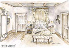 Эскизы интерьеров Ирены Барене Interior Sketch, Room Interior Design, Luxury Interior, Anime Scenery, Sketching, Illustrators, Bedrooms, Clip Art, Paintings