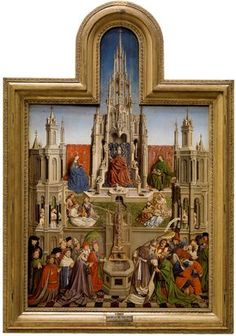 The Fountain of Grace and the Triumph of the Church over the Synagogue / La Fuente de la Gracia y Triunfo de la Iglesia sobre la Sinagoga // 1430-1440 // (School of) Jan van Eyck // Monastery of Santa María del Parral,Segovia // On the left side of the bottom plane are kings,noblemen,popes & theologians,while the right side shows various confused,fleeing Jews,one of whom is blindfolded.The Sacred Forms that flow with the water give this subject a clearly Eucharistic significance. #Jesus…