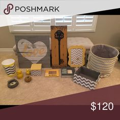 yellow and grey room decor signs, pictures, magnet board, jewelry box, clock, trash can, large and small owl decoration, candle holder, 2 picture frames, storage bin, and laundry hamper Other