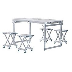 Outsunny 4′ Portable Folding Outdoor Picnic Table w/ 4 Seats – Silver