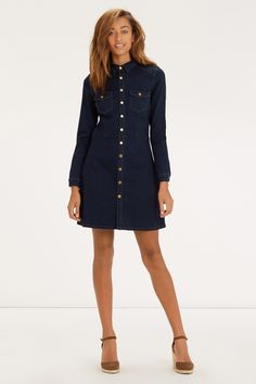 1cefee86aa The dark indigo wash and contrast stitching combo meet on this cute new  denim dress