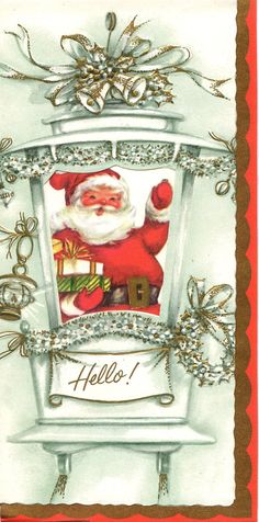 Vintage Christmas Card Santa  Xmas Gifts by antiquewhisperer