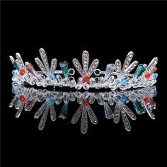 FUMUD 1 1/2'' Height Silver Plated Crystal Rhinestone Headband Tiaras Crown