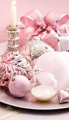 pink Christmas ornament display for the holidays