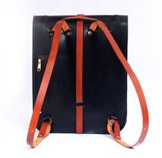 Leather bag for men or women. Bicolor backpack: black and