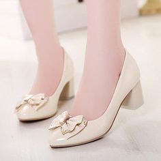 Womens Chunky Heel Metal Bowknot Lolita Oxfords Pumps Court Shoes PLus Size 4-10