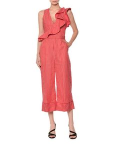 Sleeveless+Striped+Ruffle+Jumpsuit+by+MSGM+at+Neiman+Marcus.